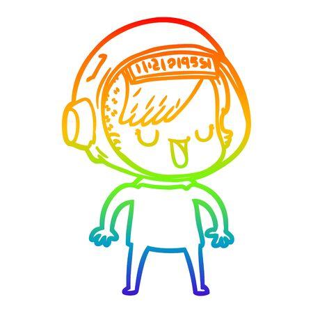 rainbow gradient line drawing of a cartoon astronaut woman Stock Illustratie