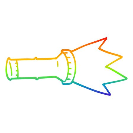 rainbow gradient line drawing of a cartoon torch