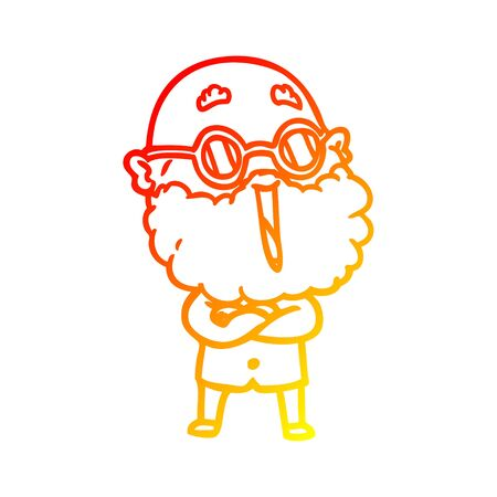 warm gradient line drawing of a cartoon joyful man with beard