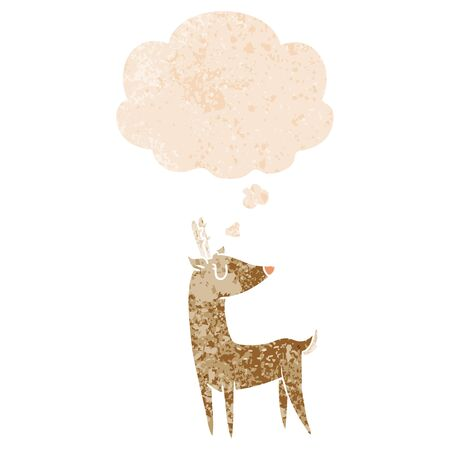 cartoon deer with thought bubble in grunge distressed retro textured style