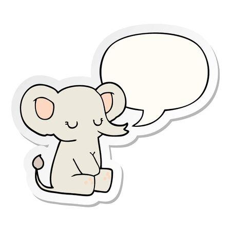 cartoon elephant with speech bubble sticker