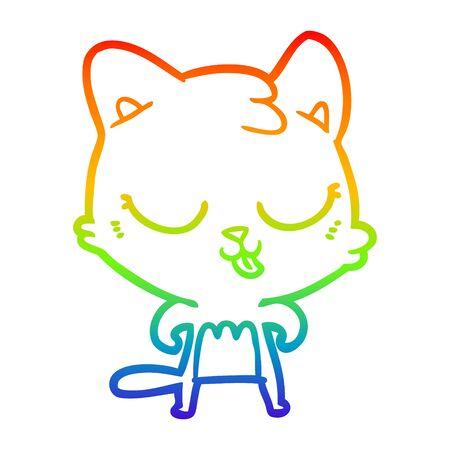 rainbow gradient line drawing of a cartoon cat Stock Illustratie