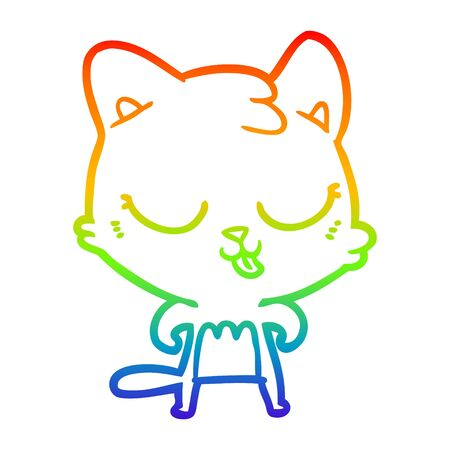 rainbow gradient line drawing of a cartoon cat Illustration