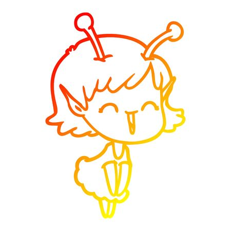 warm gradient line drawing of a cartoon alien girl laughing
