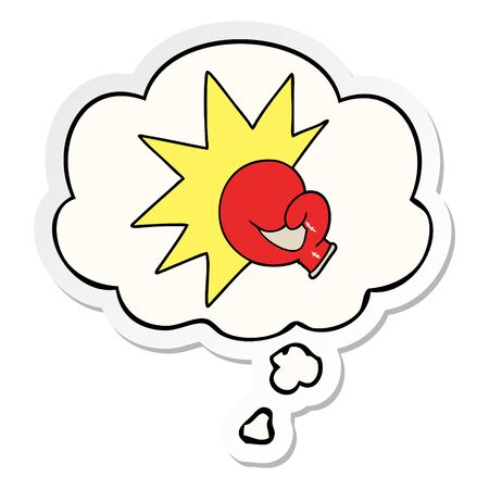 boxing glove cartoon  with thought bubble as a printed sticker