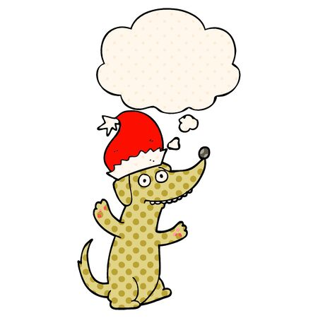 cute christmas cartoon dog with thought bubble in comic book style Illustration
