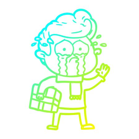 cold gradient line drawing of a cartoon crying man with present Stock Illustratie