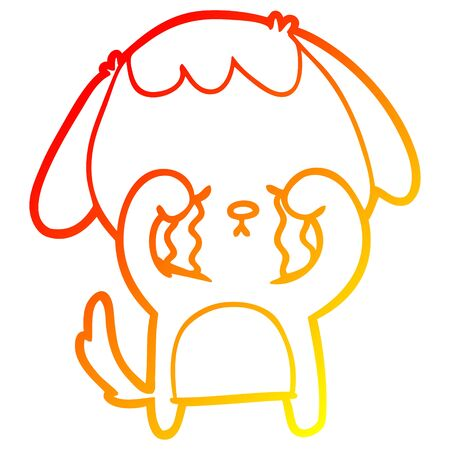 warm gradient line drawing of a cartoon crying dog