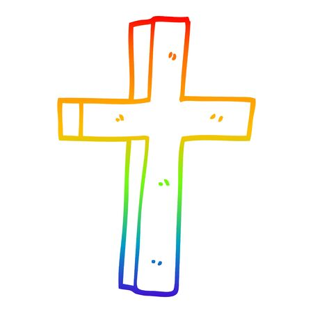 rainbow gradient line drawing of a cartoon wooden cross