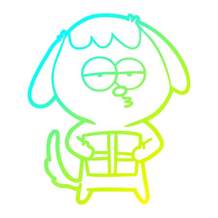 cold gradient line drawing of a cartoon bored dog with christmas present Ilustracja