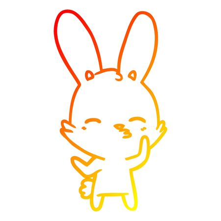 warm gradient line drawing of a curious bunny cartoon Ilustracja