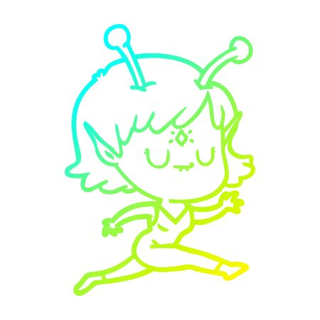 cold gradient line drawing of a cartoon alien girl jumping Illustration
