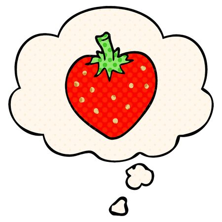 cartoon strawberry with thought bubble in comic book style Stock Illustratie
