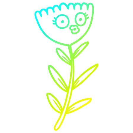 cold gradient line drawing of a cartoon flower dancing Illustration