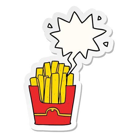 cartoon junk food fries with speech bubble sticker Иллюстрация
