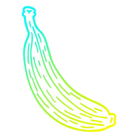 cold gradient line drawing of a cartoon yellow banana