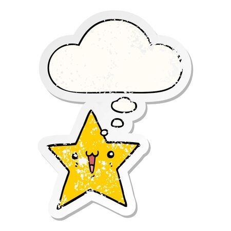 happy cartoon star with thought bubble as a distressed worn sticker  イラスト・ベクター素材