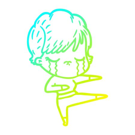 cold gradient line drawing of a cartoon woman crying Stock Illustratie