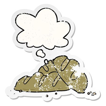 cartoon loaves of bread with thought bubble as a distressed worn sticker