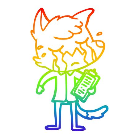 rainbow gradient line drawing of a crying business fox cartoon