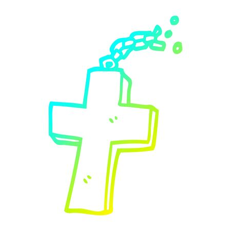 cold gradient line drawing of a cartoon crucifix on chain
