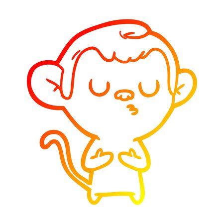 warm gradient line drawing of a cartoon monkey Stock Illustratie