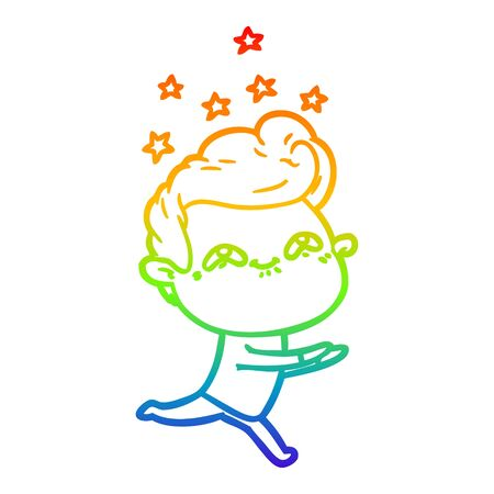 rainbow gradient line drawing of a cartoon excited man Stock Illustratie