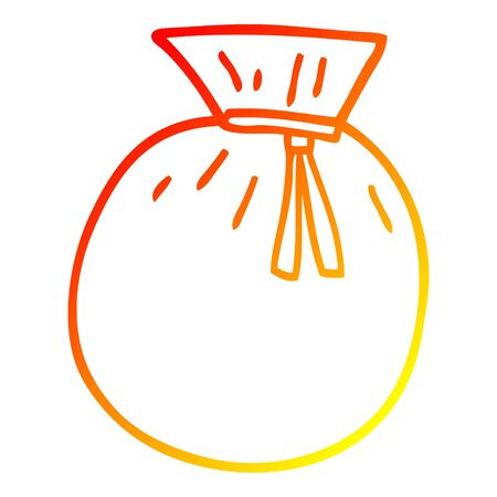 warm gradient line drawing of a cartoon tied sack  イラスト・ベクター素材