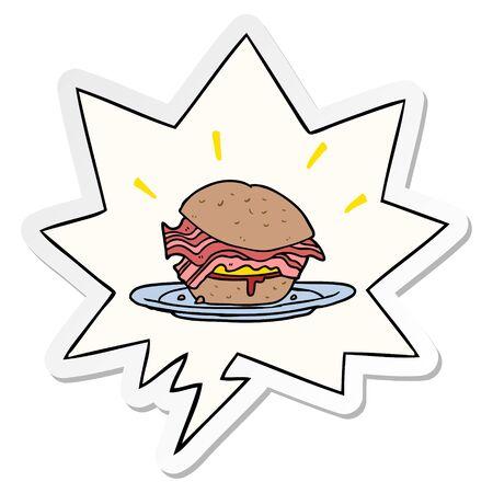 cartoon amazingly tasty bacon breakfast sandwich with cheese with speech bubble sticker Иллюстрация