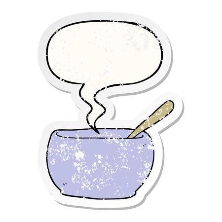 cartoon soup bowl with speech bubble distressed distressed old sticker Çizim