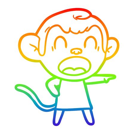 rainbow gradient line drawing of a shouting cartoon monkey pointing