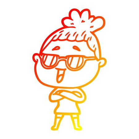 warm gradient line drawing of a cartoon happy woman wearing spectacles Stock Illustratie