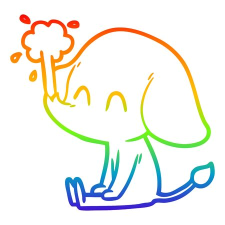 rainbow gradient line drawing of a cute cartoon elephant spouting water Stock Illustratie