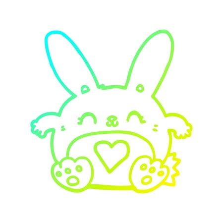 cold gradient line drawing of a cute cartoon rabbit with love heart Stock Illustratie