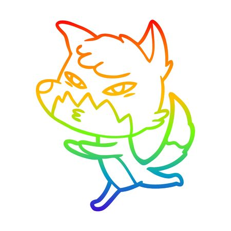 rainbow gradient line drawing of a clever cartoon fox