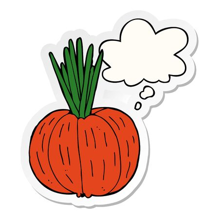 cartoon vegetable with thought bubble as a printed sticker Stock Illustratie