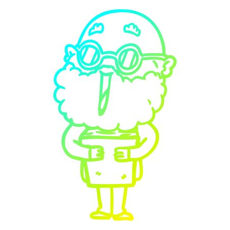 cold gradient line drawing of a cartoon joyful man with beard and book