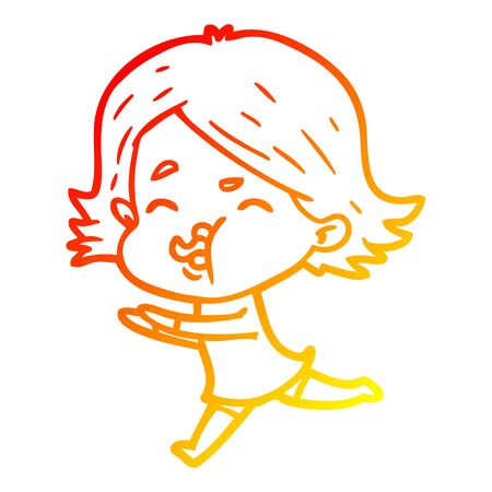 warm gradient line drawing of a cartoon girl pulling face 向量圖像