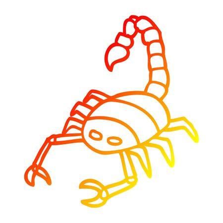 warm gradient line drawing of a cartoon scorpion