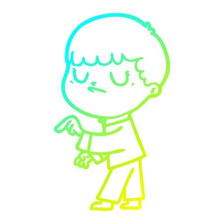 cold gradient line drawing of a cartoon grumpy boy