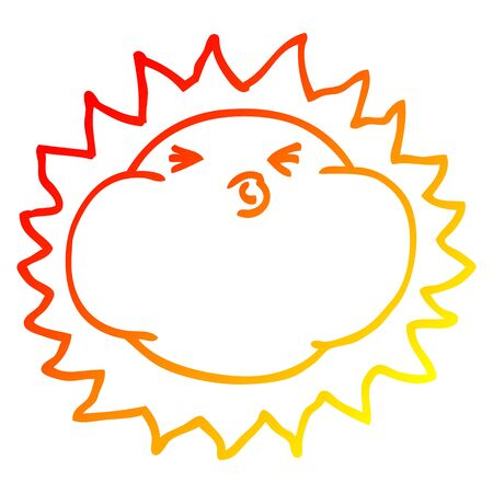 warm gradient line drawing of a cartoon shining sun