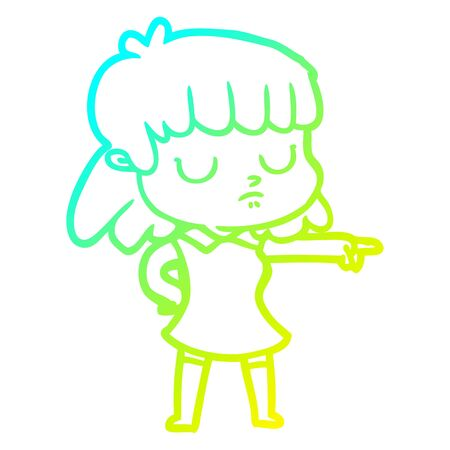 cold gradient line drawing of a cartoon indifferent woman pointing