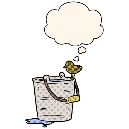 cartoon bucket of water with thought bubble in comic book style