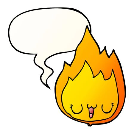 cartoon flame with face with speech bubble in smooth gradient style