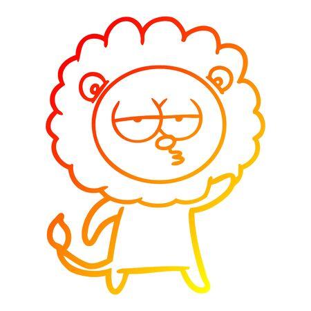 warm gradient line drawing of a cartoon bored lion waving Ilustração