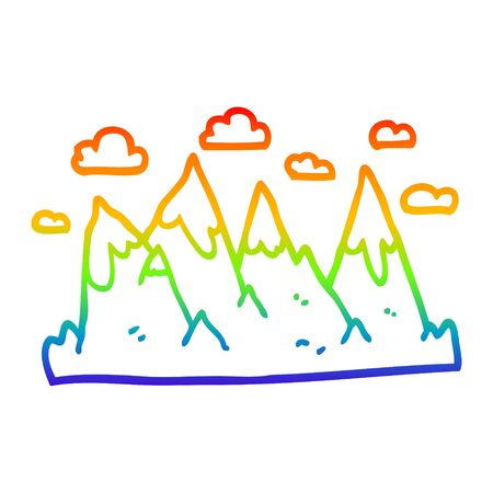 rainbow gradient line drawing of a cartoon mountain range 版權商用圖片 - 130200153