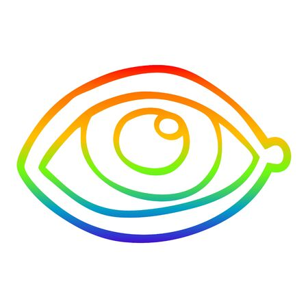 rainbow gradient line drawing of a cartoon human eye Ilustrace
