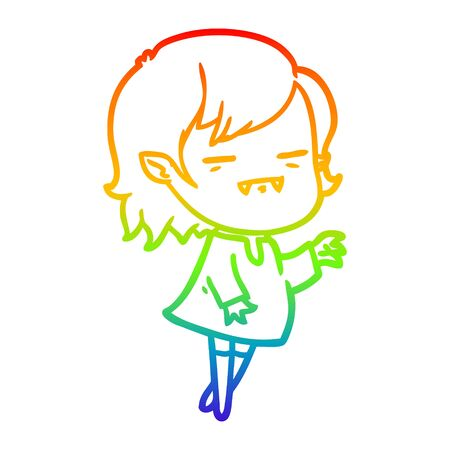 rainbow gradient line drawing of a cartoon undead vampire girl reaching out Иллюстрация