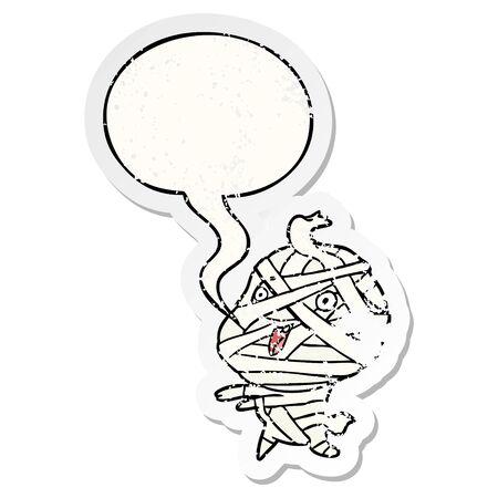 cute cartoon halloween mummy with speech bubble distressed distressed old sticker
