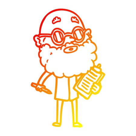 warm gradient line drawing of a cartoon curious man with beard and sunglasses